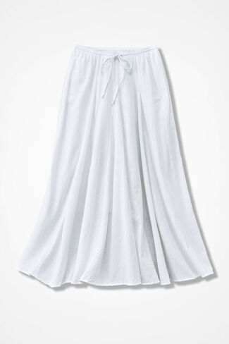 Crinkle Cotton Solid Maxi Skirt, White, large