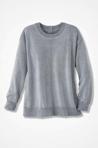 Subtle Sparkle Button-Back Sweater, Silver, large