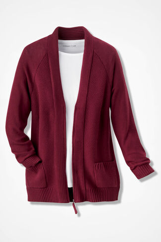 Zip-Front Textured Cardigan, Crimson, large