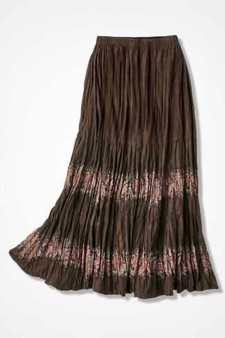 Tiered Faux Suede Maxi Skirt, Brown, large