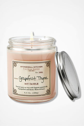 Stonewall Kitchen® Grapefruit Thyme Soy Candle, Pink, large