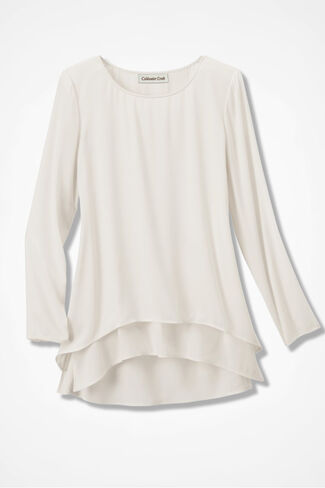 Lovely Layers High/Low Tunic, Ivory, large
