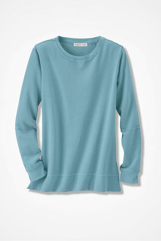 Colorwashed Fleece Pullover, Robins Egg, large
