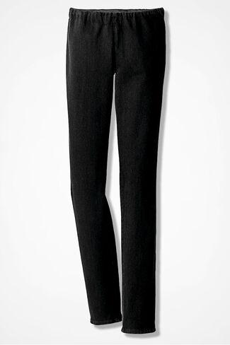 Knit Denim Slim-Leg Leggings, Pitch Black Wash, large