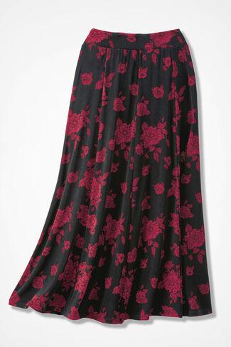 Destinations Rose Print Skirt, Black/Red, large