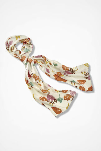 Leafscape Silk Scarf, Antique White, large