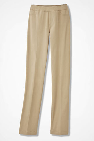 Pull-On Day-to-Dinner Pants, Brushed Khaki, large