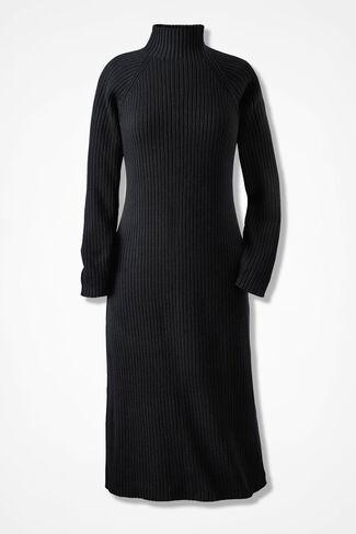 Modern Mode Sweater Dress, Black, large