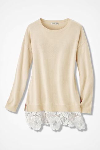 Lace Peek Sweater, Vanilla, large