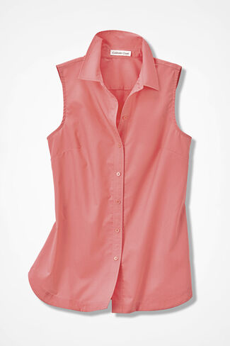 Solid Easy Care Sleeveless Tunic, Sugar Coral, large