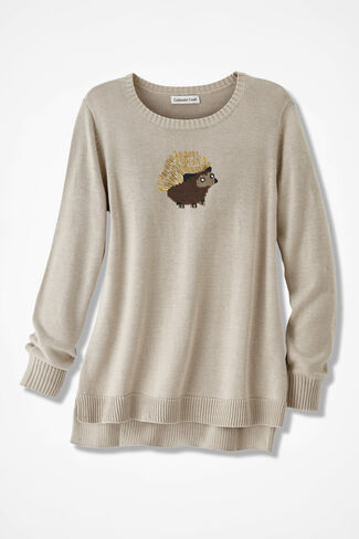 Jolly Hedgehog Sweater, Oatmeal, large