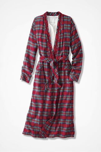 Merry Plaid Flannel Robe, Red Multi, large
