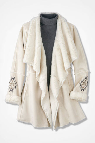 Snow Peak Faux Shearling Coat, Winter White, large