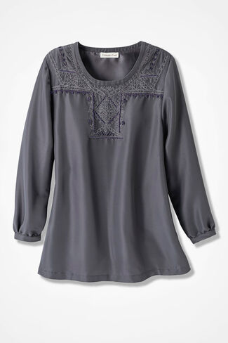 On the Town Embroidered Blouse, Graphite, large