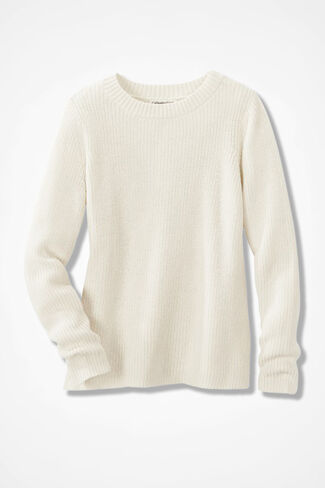Boxy Shaker Pullover, Antique White, large