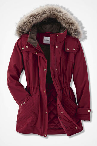 Winter Chaser Hooded Storm Coat, Garnet, large