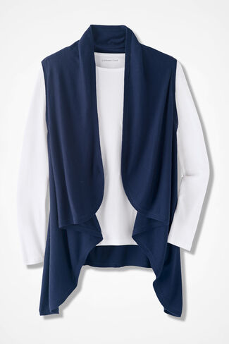 Waterfall Sweater Vest, Navy, large