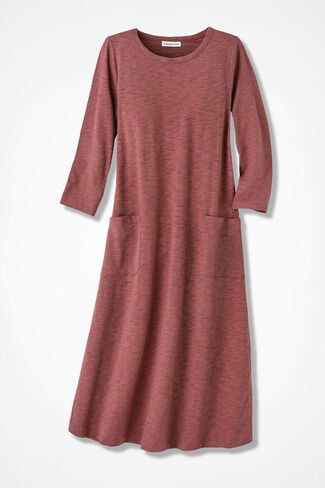 Patch Pocket Knit Dress, Canyon Rose, large