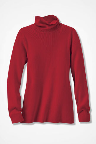 Classic Turtleneck Sweater, Fresh Red, large