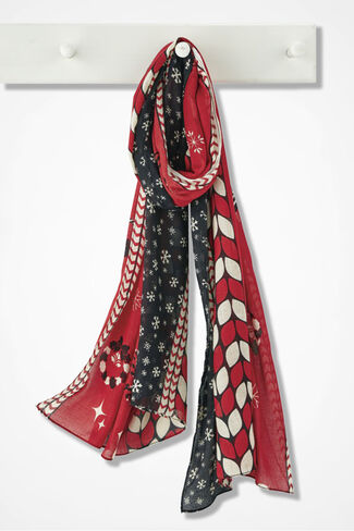 Vintage Charm Holiday Scarf, Fresh Red, large