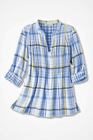 Plaid Double-Faced Tunic, Antique Blue Multi, large