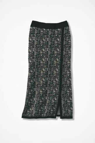 Faux Wrap Sweaterknit Skirt, Black, large