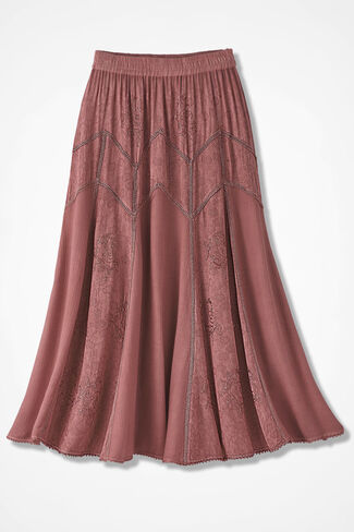 Embroidered Jacquard Skirt, Canyon Rose, large