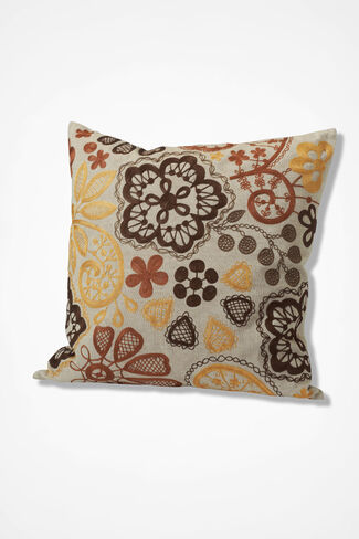 Floral Embroidered Pillow, Cream, large