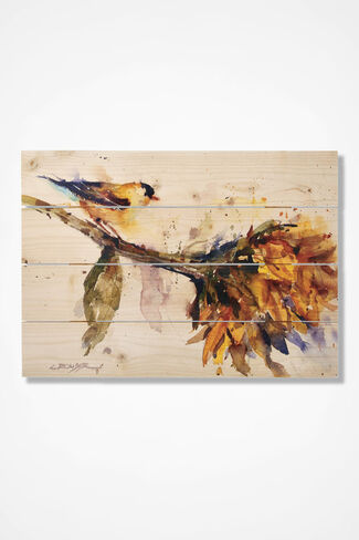 Bird and Blossom On Cedar, Natural, large