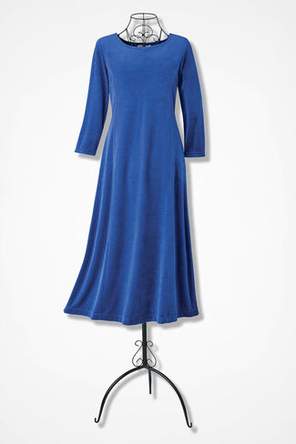Park Avenue Velour Dress, Sapphire, large