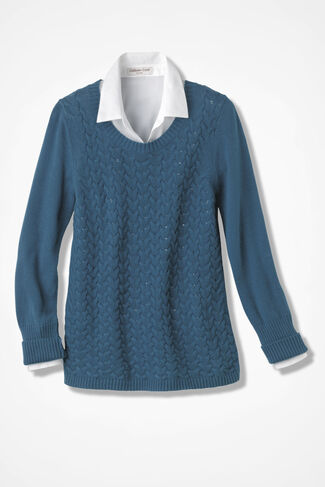 Tumbling Cables Pullover, Deep Peacock Blue, large