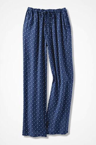 Four Winds Mini-Print Pants, Navy, large