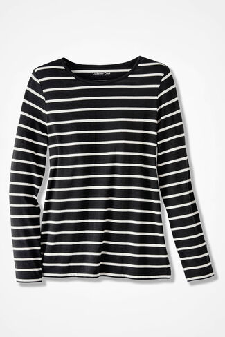 PrimaKnit® Striped Crewneck Tee, Black, large
