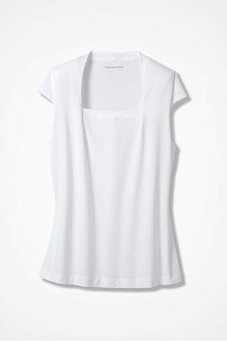 Anytime Square Neck Tank, White, large