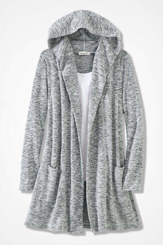 Dream-Soft Plush Cardigan, Mid Heather Grey, large