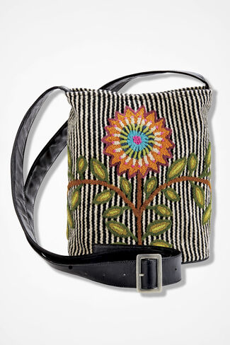 Handcrafted Peruvian Floral Bag, Black, large