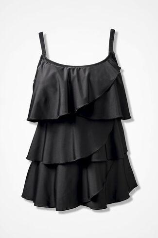 Ruffled Tankini Top, Black, large
