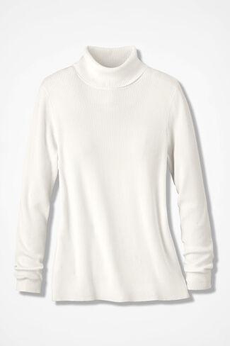 Classic Turtleneck Sweater, Ivory, large