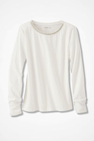 Glimmer-Trim Tee, Ivory, large