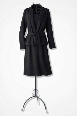 Ponte Jacket Dress, Black, large
