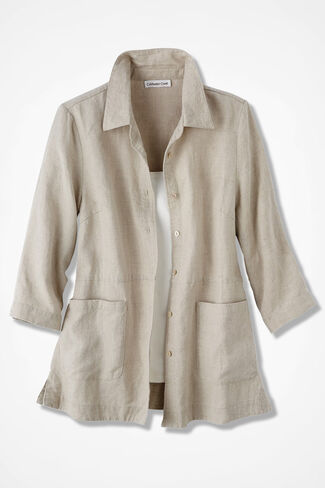 Easy Linen Shirt Jacket, Flax, large