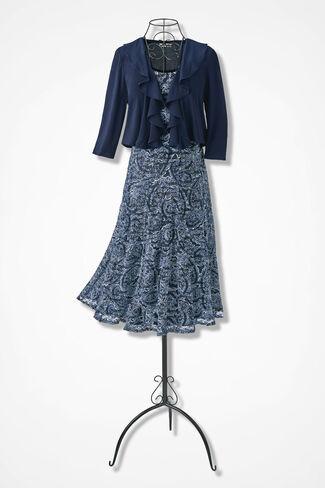 Lacy Paisley Jacket Dress, Navy Multi, large