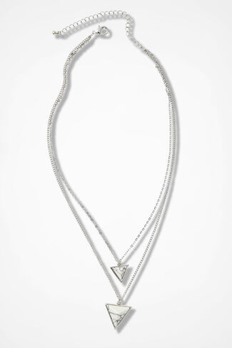 Double Triangle Necklace, Black/White, large