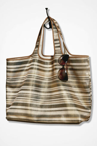 Reversible Bronzed Horizons Tote, Brown, large