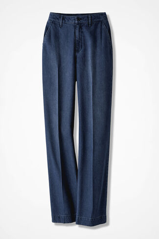 Tailored Denim Trousers, Medium Wash, large