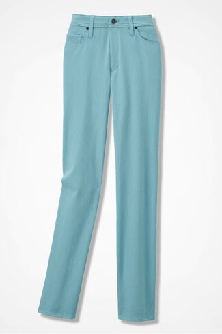 Knit Denim Straight-Leg Jeans, Dusty Aqua, large