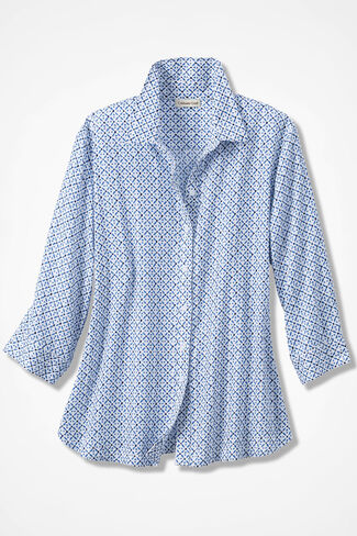 Lattice Print Easy Care Shirt, French Blue, large