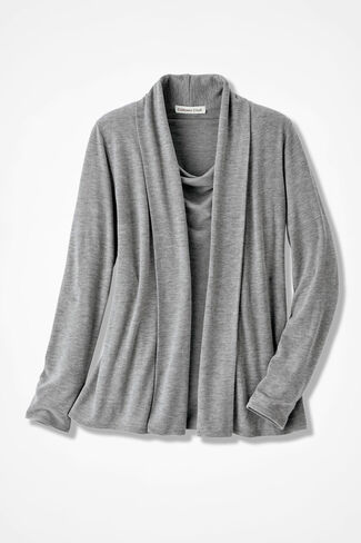 Soft Drape Cardigan, Mid Heather Grey, large