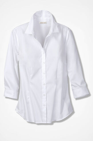 Classic Cotton Three-Quarter Sleeve Shirt, White, large