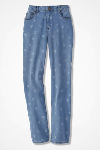 The Creek® Heart-Print Jeans, Light Wash, large